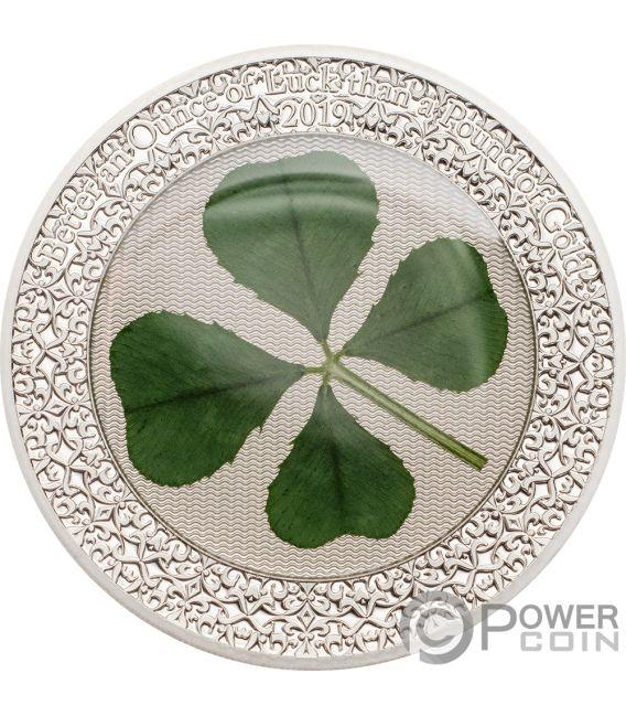 OUNCE OF LUCK Four Leaf Clover 1 Oz Silver Coin 5$ Palau 2019