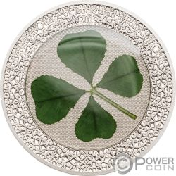 OUNCE OF LUCK Four Leaf Clover 1 Oz Silver Coin 5$ Palau 2019