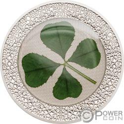 OUNCE OF LUCK Oncia Fortuna Four Leaf Clover 1 Oz Moneta Argento 5$ Palau 2019