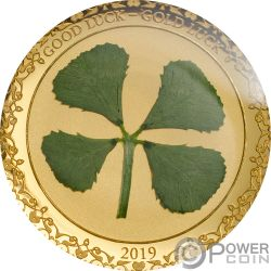 FOUR LEAF CLOVER Good Luck Gold Coin 1$ Palau 2019