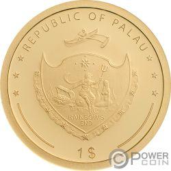 FOUR LEAF CLOVER Good Luck Золото Монета 1$ Палау 2019