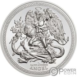 ANGEL Arcangel Miguel 2 Oz Moneda Plata Isle of Man 2018