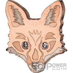 FOX Brilliant Animal Mask Shape Gold Coin 5$ Fiji 2018