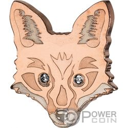 FOX Fuchs Brilliant Animal Mask Gestalten Gold Münze 5$ Fiji 2018