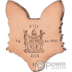 FOX Brilliant Animal Mask Shape Золото Монета 5$ Фи́джи 2018