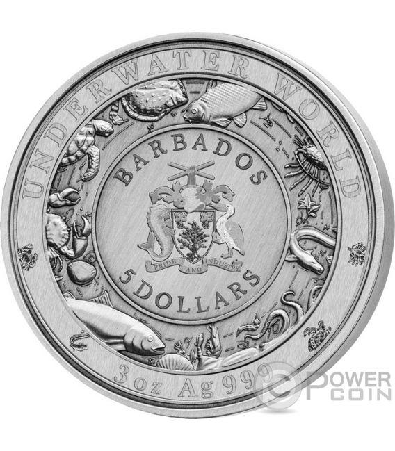 DOLPHIN Underwater World 3 Oz Silver Coin 5$ Barbados 2019
