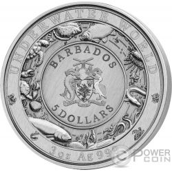 DOLPHIN Underwater World 3 Oz Серебро Монета 5$ Барбадос 2019