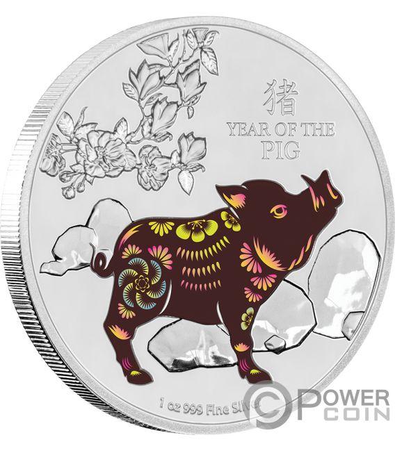 YEAR OF THE PIG Anno Maiale Lunar Coin Collection 1 Oz Moneta Argento 2$ Niue 2019