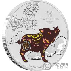 YEAR OF THE PIG Anno Maiale Lunar Coin Collection 1 Oz Moneta Argento 2$ Niue 2019