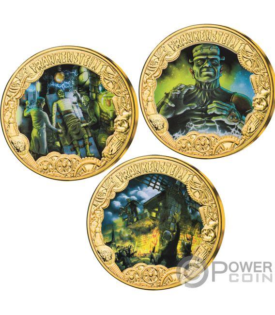 FRANKENSTEIN 200 Aniversario Set 3 Monedas Chapado Oro 1$ Tokelau 2019