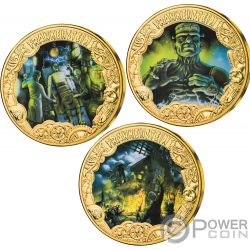FRANKENSTEIN 200th Anniversary Set 3 Gold Plated Coins 1$ Tokelau 2019