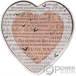 CELEBRATING LOVE Heart Shape Bimetallic Серебро Монета 3$ Фи́джи 2018