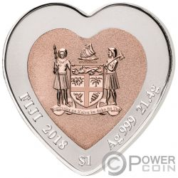 CELEBRATING LOVE Heart Shape Bimetallic Silver Coin 3$ Fiji 2018