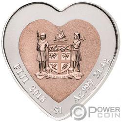 CELEBRATING LOVE Liebe Herz Gestalten Bimetallisch Silber Münze 3$ Fiji 2018