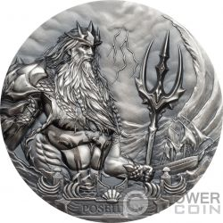 POSEIDON Poseidone Dio Mare Gods Of The World 3 Oz Moneta Argento 20$ Cook Islands 2019