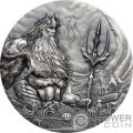 POSEIDON Dios Mar Gods Of The World 3 Oz Moneda Plata 20$ Cook Islands 2019