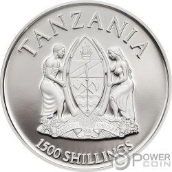 GRIFFIN Grifo Mythological Animals 2 Oz Moneda Plata 1500 Shillings Tanzania 2018