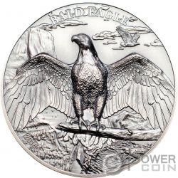 BALD EAGLE Aquila Calva Nevi High Relief Animals 1 Oz Moneta Argento 5$ Cook Islands 2018