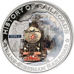 TRANS SIBERIAN RAILROAD Russia Railway Steam Train Locomotive Серебро Монета 5$ Либерия 2011