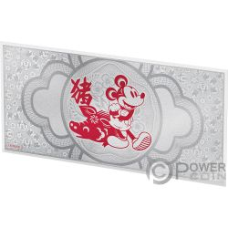 YEAR OF THE PIG Schwein Mickey Mouse Disney Lunar Foil Collection Silber Note 1$ Niue 2019