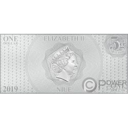 YEAR OF THE PIG Anno Maiale Mickey Mouse Disney Lunar Foil Collection Banconota Argento 1$ Niue 2019