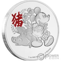 YEAR OF THE PIG Anno Maiale Mickey Mouse Lunar Coin Collection Disney 1 Oz Moneta Argento 2$ Niue 2019