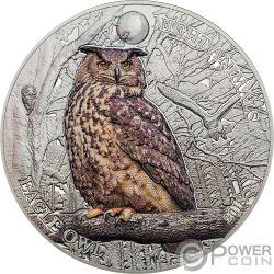EAGLE OWL Buho Real Night Animals 1 Oz Moneda Plata 5$ Cook Islands 2018