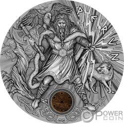 PERUN Trueno Slavic Gods 2 Oz Moneta Argento 5$ Niue 2018