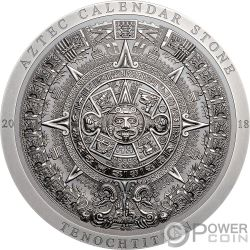 AZTEC CALENDAR STONE Archeology Symbolism 3 Oz Silver Coin 20$ Cook Islands 2018