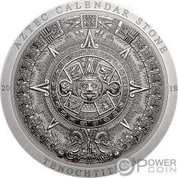 AZTEC CALENDAR STONE Calendario Archeology Symbolism 3 Oz Moneda Plata 20$ Cook Islands 2018