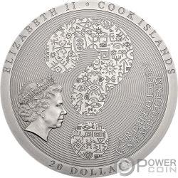 AZTEC CALENDAR STONE Archeology Symbolism 3 Oz Серебро Монета 20$ Острова Кука 2018