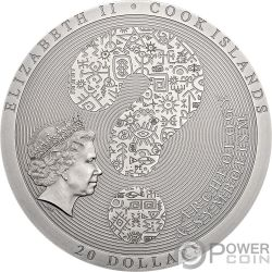 AZTEC CALENDAR STONE Calendario Archeology Symbolism 3 Oz Moneta Argento 20$ Cook Islands 2018