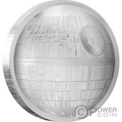 DEATH STAR Estrella de la Muerte Ultra High Relief Star Wars 2 Oz Moneda Plata 5$ Niue 2018