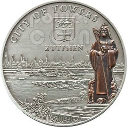 ZUTPHEN Hanseatic League Hansa Silver Coin 5$ Cook Islands 2010