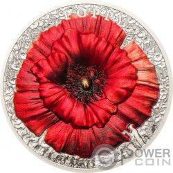POPPY Amapola High Relief Flowers Leaves 2 Oz Moneda Plata 10$ Palau 2018