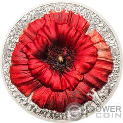 POPPY High Relief Flowers Leaves 2 Oz Серебро Монета 10$ Палау 2018