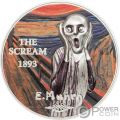 SCREAM Grito Munch Revived Art 1 Oz Moneda Plata 5$ Palau 2018