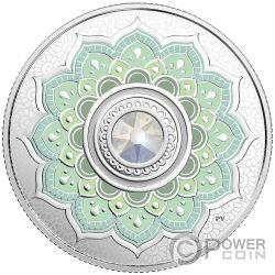 OCTOBER Octubre Birthstone Swarovski Crystal Moneda Plata 5$ Canada 2018
