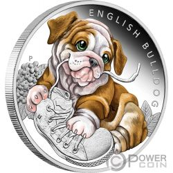 ENGLISH BULLDOG Dog Puppies Silver Coin 50 Cents Tuvalu 2018