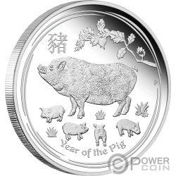 PIG Maiale Lunar Year Series 1 Oz Moneta Argento 1$ Australia 2019