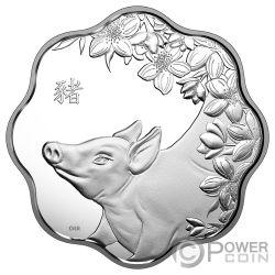 YEAR OF THE PIG Cerdo Lunar Lotus Moneda Plata 15$ Canada 2019