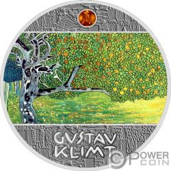 APPLE TREE Albero Mele Gustav Klimt Golden Five Moneta Argento 1$ Niue 2018