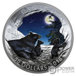 MOONLIT TRANQUILITY Natures Light Show Glow In The Dark 5 Oz Silver Coin 50$ Canada 2018