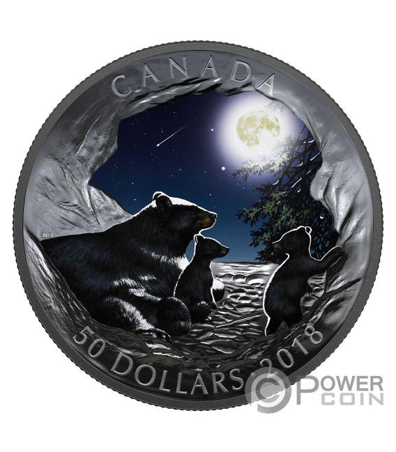 MOONLIT TRANQUILITY Luna Natures Light Show Glow In The Dark 5 Oz Moneta Argento 50$ Canada 2018