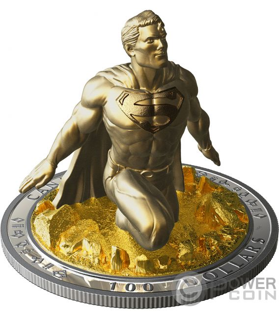 SUPERMAN Skulptur 3D Last Son Of Krypton 10 Oz Silber Münze 100$ Canada 2018