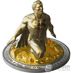 SUPERMAN Escultura 3D Last Son Of Krypton 10 Oz Moneda Plata 100$ Canada 2018