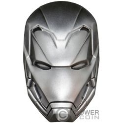 IRON MAN MASK Maschera Marvel 2 Oz Moneta Argento 5$ Fiji 2019