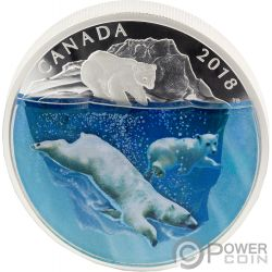 POLAR BEARS Eisbär Dimensional Nature 2 Oz Silber Münze 30$ Canada 2018