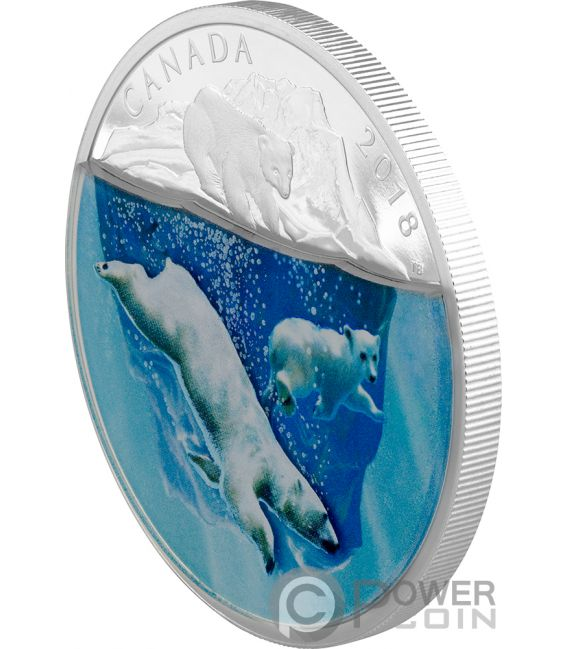 POLAR BEARS Dimensional Nature 2 Oz Silver Coin 30$ Canada 2018
