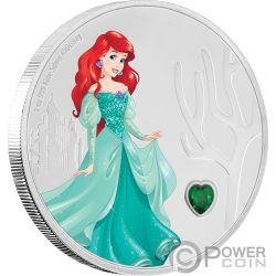 ARIEL Ariel Disney Princess Gemstone 1 Oz Moneda Plata 2$ Niue 2018